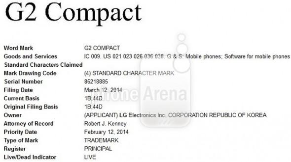 سند ثبت نام G2 Compact برای ال جی