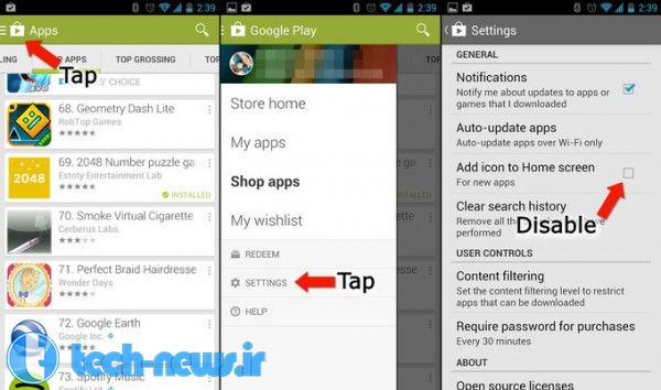 Android how to stop app shortcuts from being created automatically on your home screen