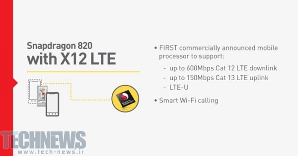 Qualcomm Snapdragon 820 - 600Mbps Cat12 LTE, Quick Charge 3.0