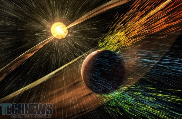 Mars atmosphere being stripped away by solar winds