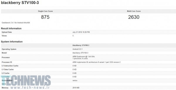 BlackBerry Rome is benchmarked by Geekbench?