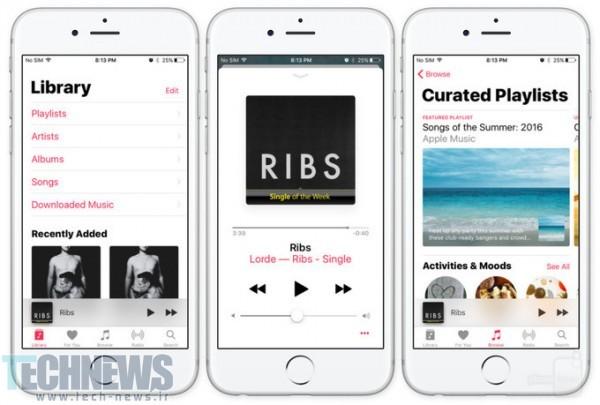 اپلیکیشن اپل موزیک در iOS 10