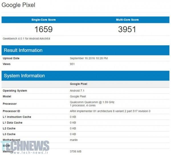 گوشی Pixel Xl گوگل بار دیگر در بنچمارک Geekbench حضور یافت؛ اندروید 7.1 و 4 گیگابایت رم