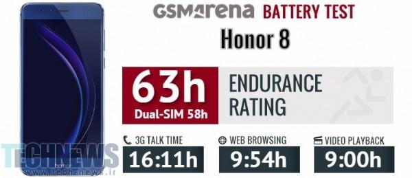 عمر باتری گوشی Honor 8