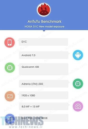 گوشی D1C نوکیا در بنچمارک AnTuTu حاضر شد؛ نمایشگر فولاچدی و دوربین 13 مگاپیکسلی
