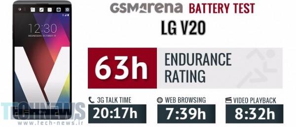عمر باتری گوشی LG V20