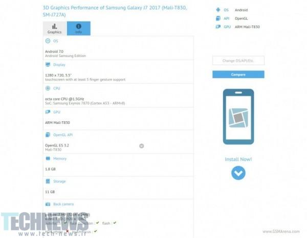 Photo of گوشی Galaxy J7 2017 سامسونگ در پایگاه داده GFXBench مشاهده شد