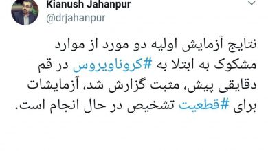 Photo of وزارت بهداشت دو مورد ابتلا به کرونا در ایران را تائید کرد